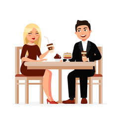 young couple drinks coffee with desserts at the vector image