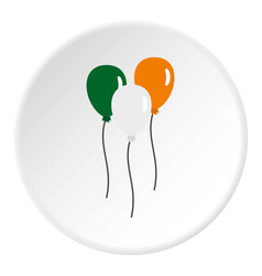Balloons in irish flag colors icon circle vector