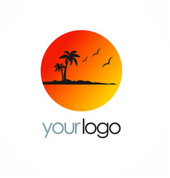 beach sunset palm tree logo vector image vector image