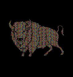 big buffalo standing graphic vector image