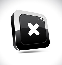 Cross 3d square button vector
