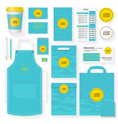 coffee shop identity template set turquoise color vector image vector image