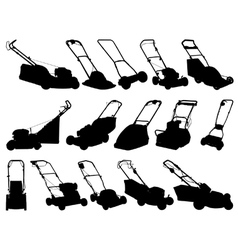 Lawn mower silhouettes vector image vector image