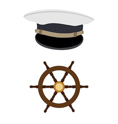 Navy hat and wheel vector image vector image