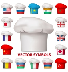 Set of national cuisine icons symbols vector image