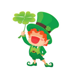 happy leprechaun holding shamroc vector image