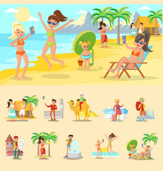 happy people on vacation concept vector image