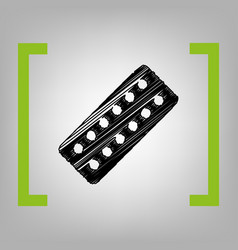 medical pills sign black scribble icon in vector image