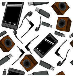 seamless pattern of electronic gadget vector image
