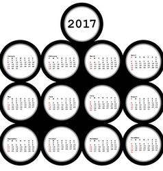 2017 black circles calendar for office vector image vector image