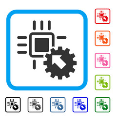 hitech processor and gear integration framed icon vector image