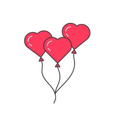 pink outline balloon like heart vector image