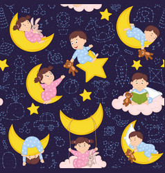 seamless pattern with babies on the moon vector image vector image
