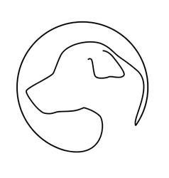 silhouette face dog icon design vector image