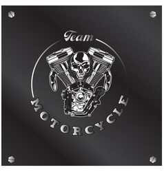 team motorcycle skull circle frame background vect vector image