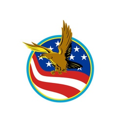 American eagle carry usa flag retro vector