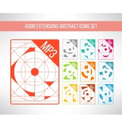 Audio format icons set im modern abstract vector image vector image