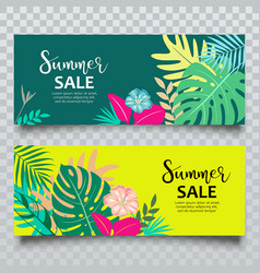 Banners summer tropical leaf sale vector