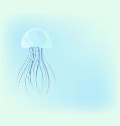 Beautiful jellyfish in deep blue sea backgroun vector