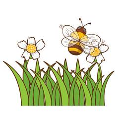 Bee flying in garden vector