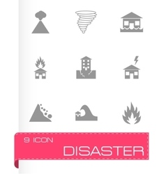 Black disaster icon set vector