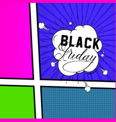 black friday comic style bubbles banners vector image