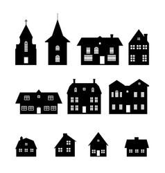 Black silhouettes christmas houses vector