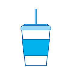 Blue icon disposable coffee cup vector
