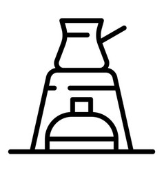 Boiling coffee pot icon outline style vector
