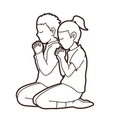 boy and girl pray together prayer christian pray vector image