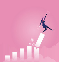 Businesswoman falling down from broken growth vector