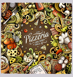 Cartoon doodles pizza frame vector