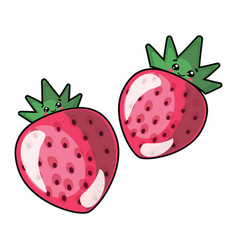 cartoon strawberries logo vector image