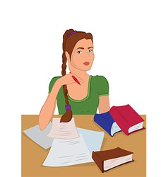 Cartoon young woman in sitting and writing vector image