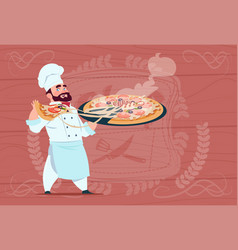 Chef cook holding pizza smiling cartoon chief in vector