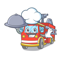Chef with food fire truck mascot cartoon vector