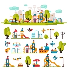 Childrens Playground drawn in a flat style vector image vector image
