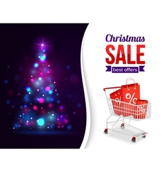 Christmas sale shining typographical background vector