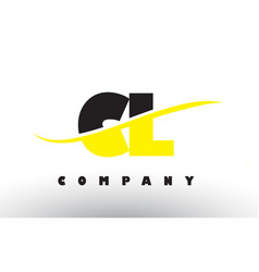 Cl c l black and yellow letter logo with swoosh vector