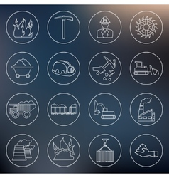 Coal industry icons outline vector image