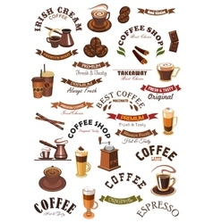 Coffee shop emblems ribbons set vector