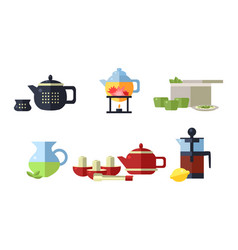 collection of tea ceremony accessories cups vector image