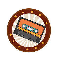 Color circular frame with cassette tape vector