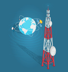 Communications satellites transmits to high tower vector