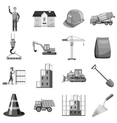 Construction icons set gray monochrome style vector