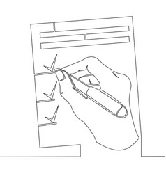continuous one line hand signs documents concept vector image