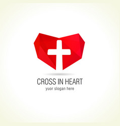 Cross in heart logo vector