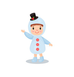 cute little boy in the costume of snowman kid in vector image