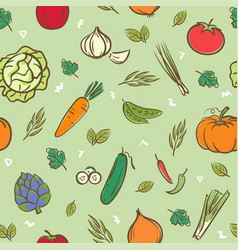 cute mix vegetables seamless pattern background vector image