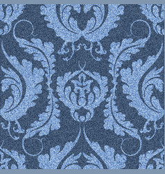Denim background with victorian pattern blue vector